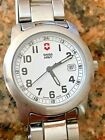 WOMENS SWISS ARMY VICTORINOX STAINLESS STEEL OFFICERS FIELD WATCH 100 M $195