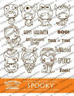 SPOOKY KIT The Greeting Farm Rubber Stamp Stamping Craft Halloween Anya Bean