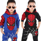 Baby Boys Long Sleeve Spiderman Hoodies Top + Pants Set Kids Outfits Clothes