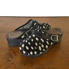 Hannah Andersson Fur Clogs Shoes Black White Spots Polka Dot Kids EU 33 US 2