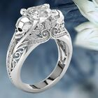 Dazzling 925 Silver Solid Punk Jewelry Heart White Sapphire Floral Skull Ring