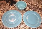 Turquoise Mid-Century Plates & Tea Cup Unmarked American