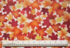 1 2 yard cotton quilt fabric Autumn Leaves fall orange red yellow foliage trees