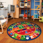 Kids Round ABC Alphabet Numbers Educational Non Skid Area Rug 755