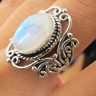 Hot Rainbow Moonstone Ring 925 Solid Silver Handmade Antique Jewelry Size 6 10