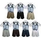 4pc Baby Boy Toddler Formal Dark Gray Vest Bow tie Black Khaki Gray Shorts Set