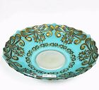 AZZURRA TURQUOISE BLUE+ANTIQUE GOLD FORGED GLASS PLATTERBOWL FROM TURKEY 15