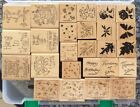 Stampin Up Lot Of 26 Wood Mounted Stamps 4 Sets In Case Cards Scrapbooking