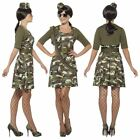 Womens Adult Army Combat Cadet Costume Ladies Military Fancy Dress Outfit