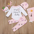 US Stock Adorable Baby Girls Heart Romper Tops Pink Trouser Outfits Set Clothes