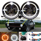 For Chevrolet Chevy Camaro 7 LED Halo Angel Eyes Headlight H4 To H13 H6024 Lamp
