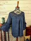70 off SALE Womens Lace accent toptunic Blue