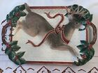 Extra Large Fitz and Floyd 1994 Christmas Holiday Leaves Reindeer Platter.