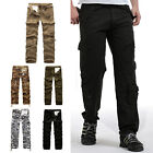 Mens Cotton Cargo Pants Combat Camouflage Camo Army Style Trousers Multicolor