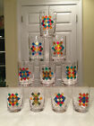VTG Mid Century Modern SAKS FIFTH AVENUE Mosaic Colored COCKTAIL GLASS TUMBLERS