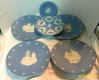 5 WEDGEWOOD BLUE & WHITE JASPERWARE COMMERATIVE PLATES & A SMALL DISH