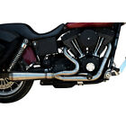 Trask Assault 2 Into 1 Stainless Exhaust for 1991 2005 Harley Dyna w Mids