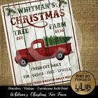 Prim Farmhouse Vintage PRINT ONLY 8x10 Christmas Tree Farm Red Truck Shiplap