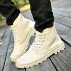 Mens Combat Army Hiking Walking sneaker lace up Canvas Comfy Breathable boots