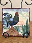 LE ROOSTER 8.5 Square Plate Geoffrey Allen Certified International FRENCH STYLE!