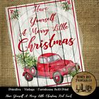 Farmhouse Vintage PRINT 8x10 Have Yourself A Merry Little Christmas Red Truck