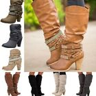 Womens Fashion Ankle Mid Calf Low Heel Round Toe Buckle Rivet Boots Shoes New