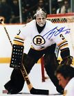 Autographed Gerry Cheevers 11x14 Action Photo - Boston Bruins (White)