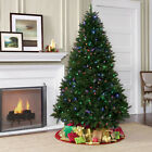 NEW Pre Lit Feel Real Green Artificial Christmas Tree LED Multi Color Lights