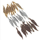 80pcs Metal Mini Feather Charms Pendant for Jewelry Making DIY Vintage Handmade