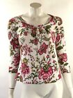 Talbots Womens Top Small White Pink Green Floral Stretch Knit 3 4 Sleeve Shirt