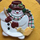 Fitz and Floyd Gift Gallery Plaid Christmas Snowman Snack Plate # 7091003 Cute!