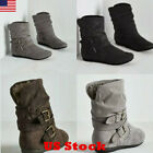 US Womens Ladies Flat Faux Suede Slouch Low Heel Wedge Winter Ankle Boots Shoes