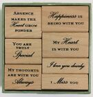 Anna Griffin Wood Mount Stamp Set 7p rubber stamps Special thoughts heart love