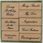 Anna Griffin Wood Mount Rubber Stamps Sentiments Phrases Sending You Birthday 8p