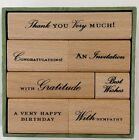 Anna Griffin Wood Mount Stamp Set 7p rubber stamps Invitation Birthday Sympathy