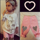 USA Baby Girl Kids Top Casual T Shirt+Leggings Pant Outfit Set 0 5Y Clothes Xmas