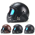 Original Vintage Leather Motorcycle Harley Helmets Motocross w Face Mask