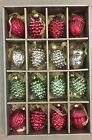 RED GREEN SILVER MERCURY GLASS PINECONES ACORNS CHRISTMAS ORNAMENTS SET OF 16