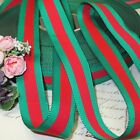 1y GREEN RED BLACK GROSGRAIN VTG STRIPE RIBBON CHRISTMAS TREE HAT TRIM FRENCH WH