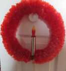 VINTAGE PLASTIC CELLOPHANE CHRISTMAS WREATH WITH CANDLE LIGHT 12
