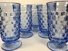 5 Vintage Indiana Glass Whitehall Colony Footed 12 oz Tumblers Light Blue