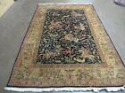 5' X 7' Vintage Hand Made Indo PERSIAN Qum Tabriz Wool Rug Hunting Tree of Life