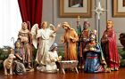 Christmas Nativity sets 14 Piece The Real Life Nativity Manger Hand Painted NEW