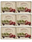 Primitive Pantry Jar Candle Labels 3x4 Merry and Bright Christmas Red Truck Tree