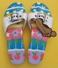 Footzies Slip On Sandals Slides Beach Summer Flowers Adjustable Strap NWT Sz 7