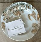 Nicole Miller Metallic Gold Paisley Floral Appetizer Dessert Plates Set Of 4