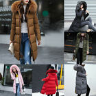 Winter Womens long Down Cotton Lot Parka Fur Collar Hooded Coat Quilted Jacket