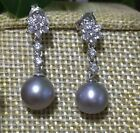 charming paif of 9-10mm south sea round siilver grey  pearl earring 925silver