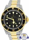 Men's Rolex Submariner Date 16613 Two-Tone Gold Stainless Black 40mm Dive Watch