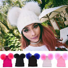 Women's Winter Warm Knit Double Fur Pom-Pom Bubble Beanie Hat Crochet Ski Cap